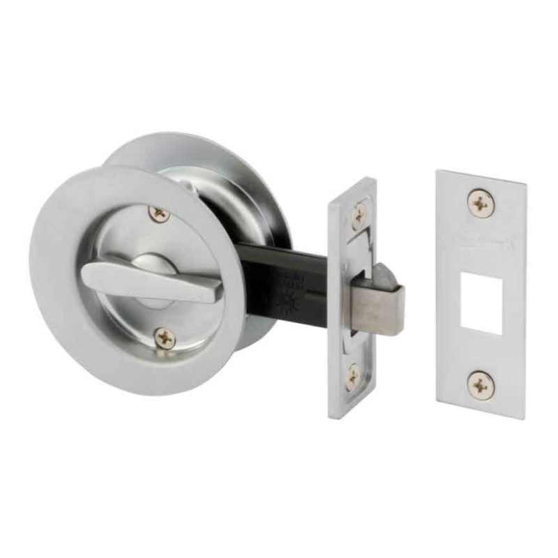 Gainsborough Sliding Circular Cavity Door Set – Privacy. Satin Chrome.