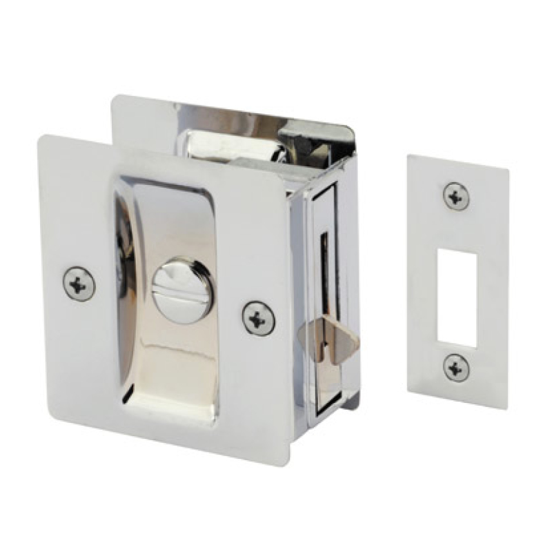 Gainsborough Sliding Rectangular Cavity Door Set – Passage Satin Chrome.