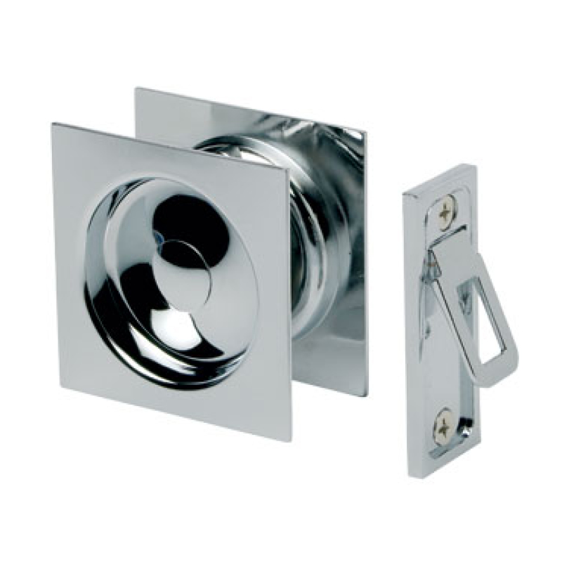 Gainsborough Sliding Square Cavity Door Set – Passage. Satin Chrome.